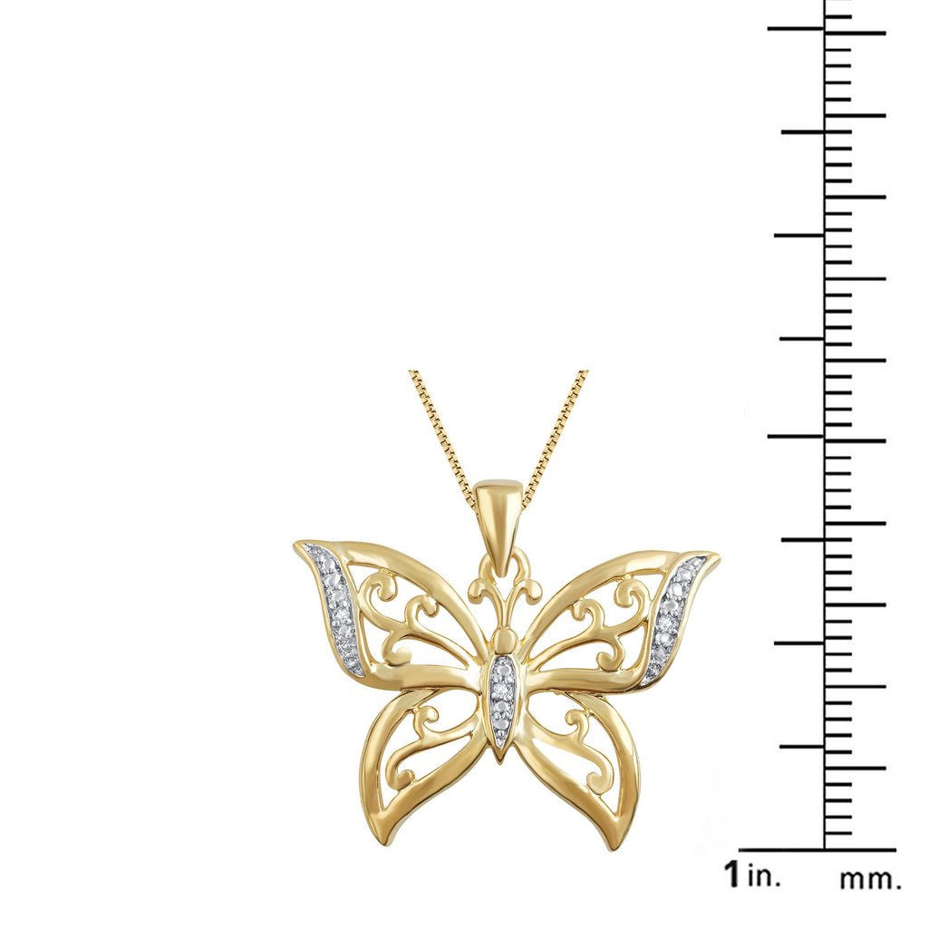 Diamond Accent Butterfly Shaped Necklace in 14k Yellow Gold Plated. - ShopMilano