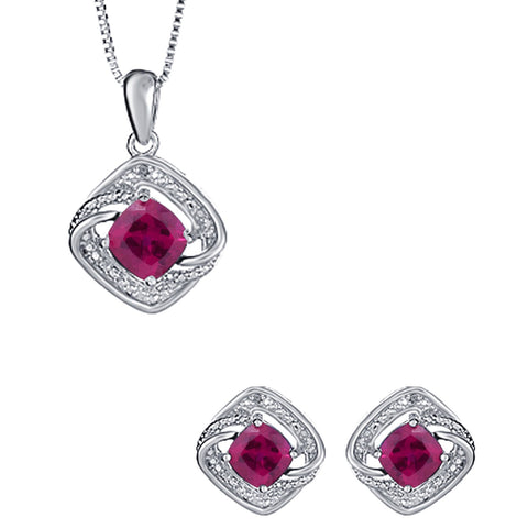 Exquisite 3 Carat Created Cushion Shaped Ruby Gemstone with diamond accent Necklace and Earrings Set In 14K White Gold Plated.