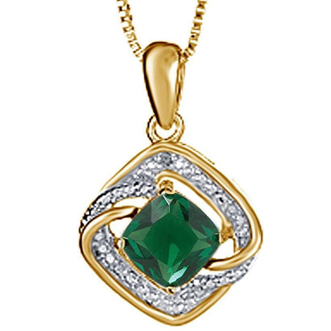 Exquisite 3 Carat Created Cushion Shaped Emerald Gemstone Necklace,Earrings And Ring Set In 14K Yellow Gold Plated.