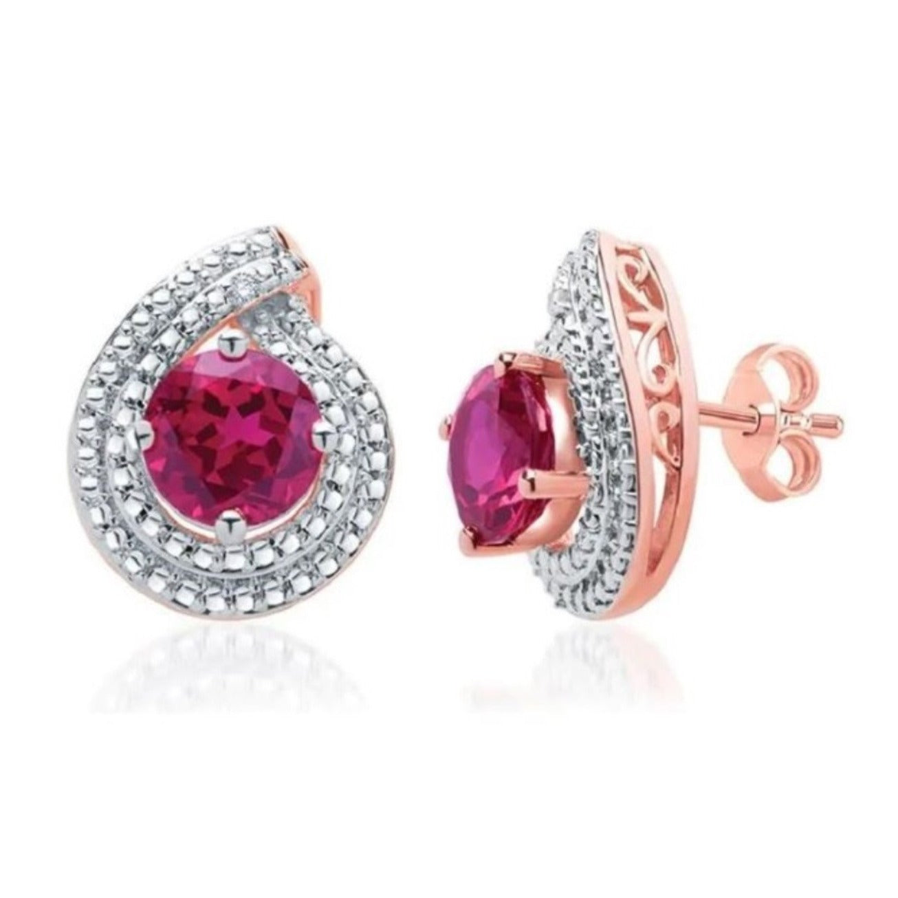 Exquisite 3 Carat Created Round Shaped Ruby Gemstone With Diamond Accent Set In 14K Rose Gold Plated.