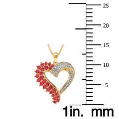Beautiful 2.57 Carat Created  Ruby with Diamond Accent Heart Shaped Necklace In 14K Yellow Gold Plated.
