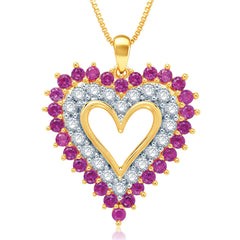 Classic  4.00 Carat Created Ruby with White Sapphire Heart Shaped Necklace In 14K Yellow Gold Plated.