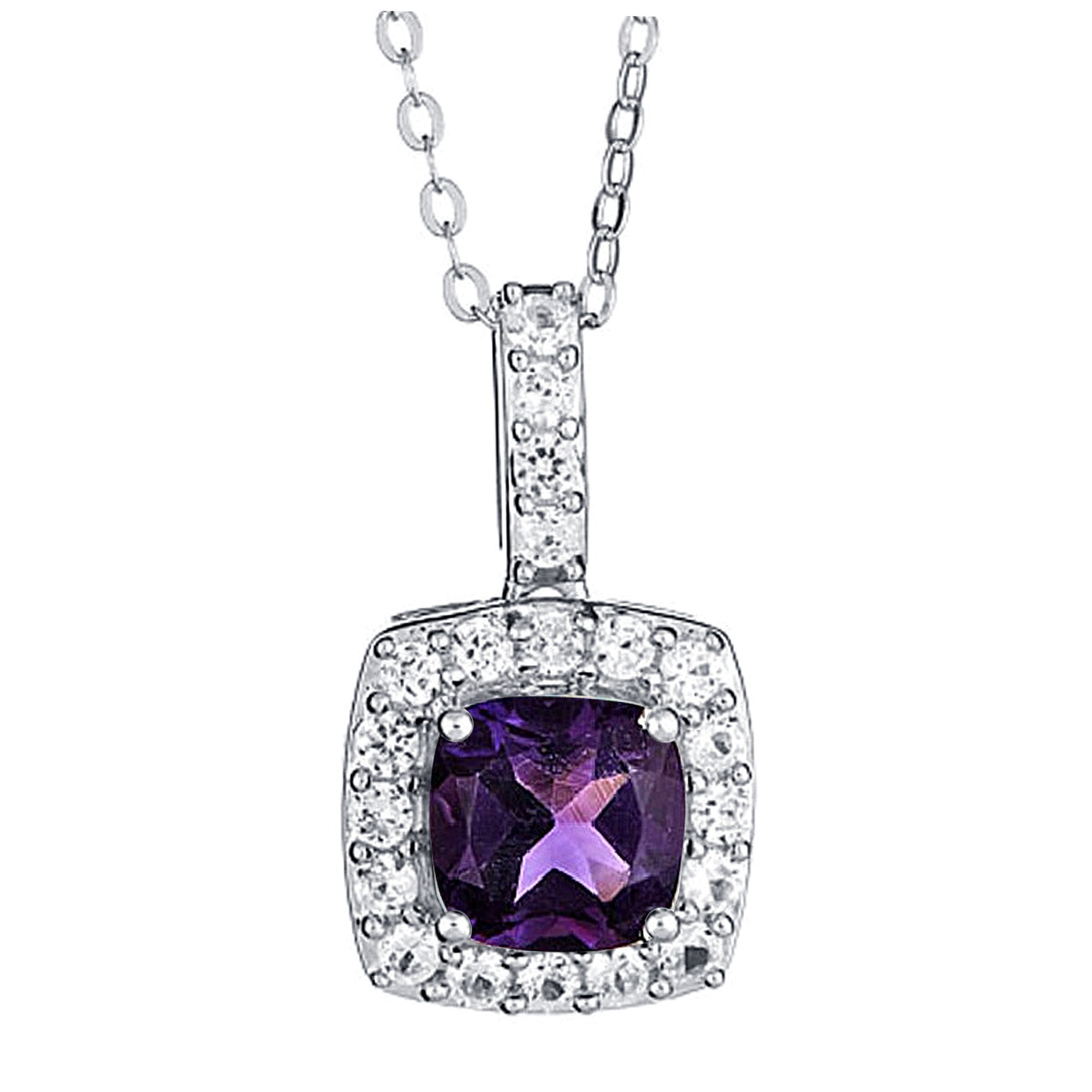 Created Amethyst with White Sapphire Necklace