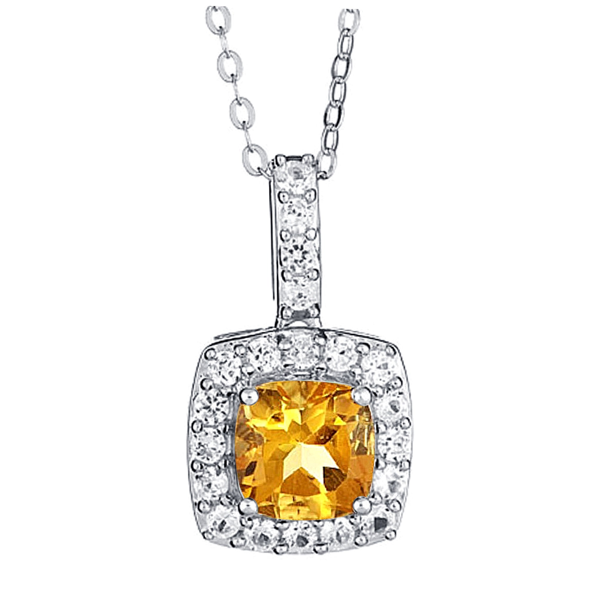 Created Citrine with White Sapphire Necklace
