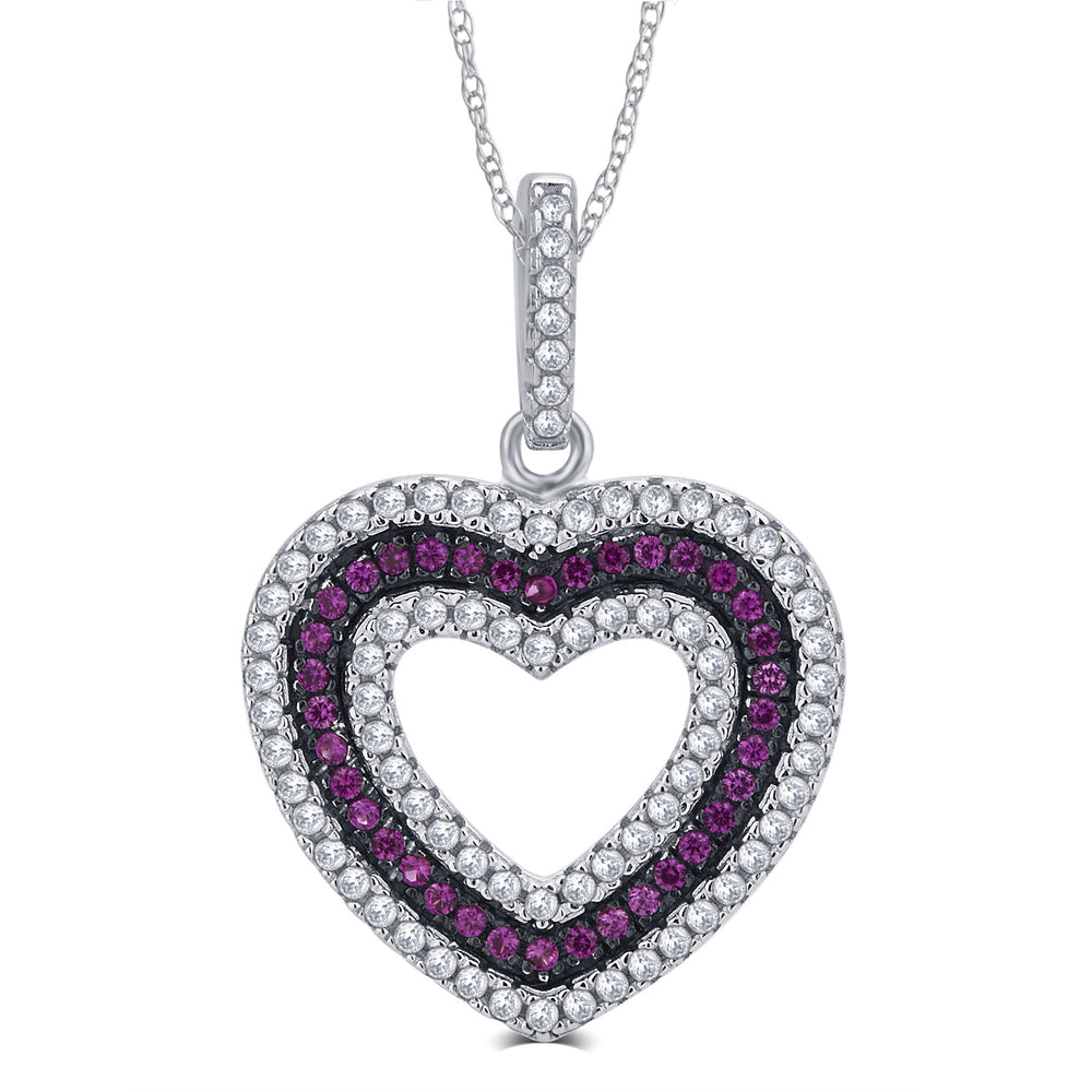 Sterling Silver Created Ruby and CZ Heart Necklace