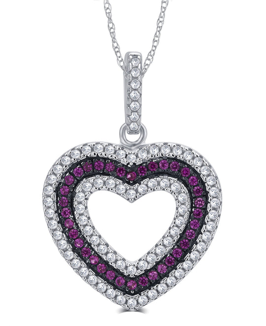 0.25 Carat Created Ruby and Cubic Zirconia  Heart Shaped Necklace In 925 Sterling Silver.