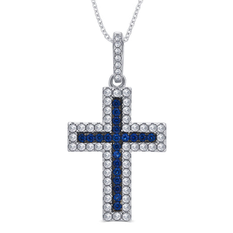 Created Sapphire and CZ Holy Cross Pendant