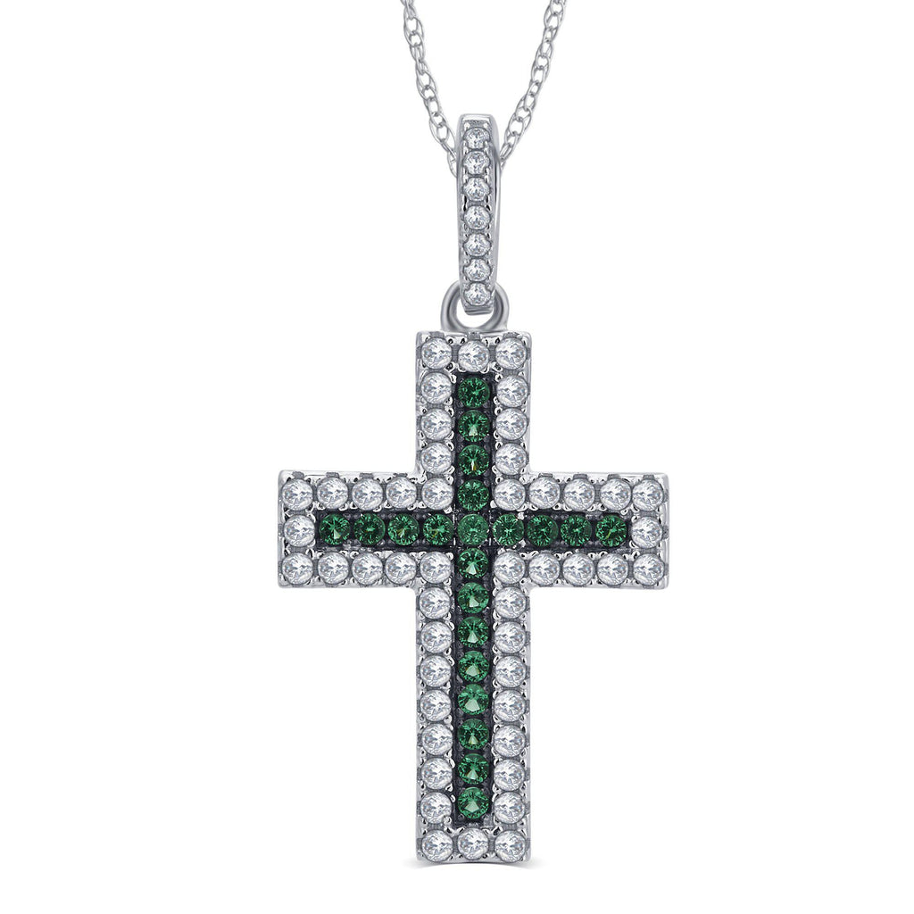 Created Emerald and CZ Holy Cross Pendant - ShopMilano