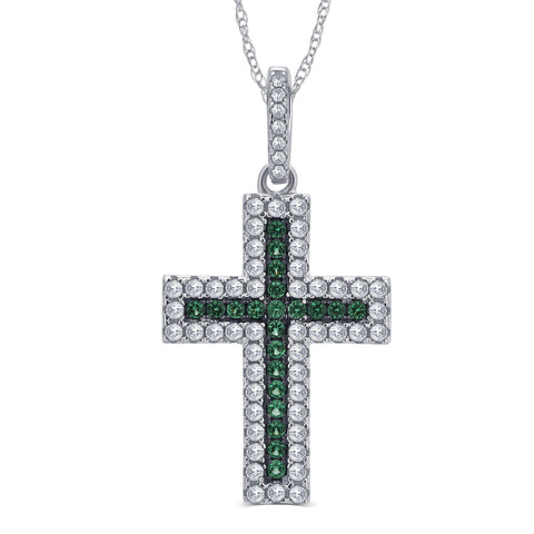 Created Emerald and CZ Holy Cross Pendant