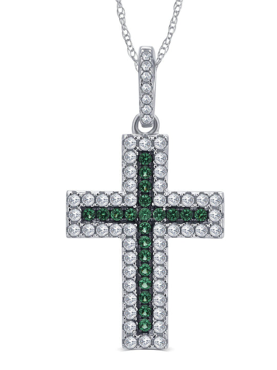 0.25 Carat Created Gemstone and Cubic Zirconia Holy Cross Pendant In 925 Sterling Silver.