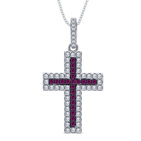 Created Ruby and CZ Holy Cross Pendant
