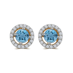Created Aquamarine & White Sapphire Gemstone Earrings