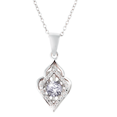 Filigree Styled Dancing Cubic Zirconia Diamond Necklace in Sterling Silver