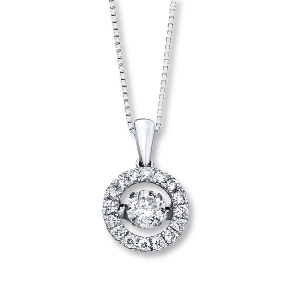 Round Dancing Cubic Zirconia Necklace in Sterling Silver