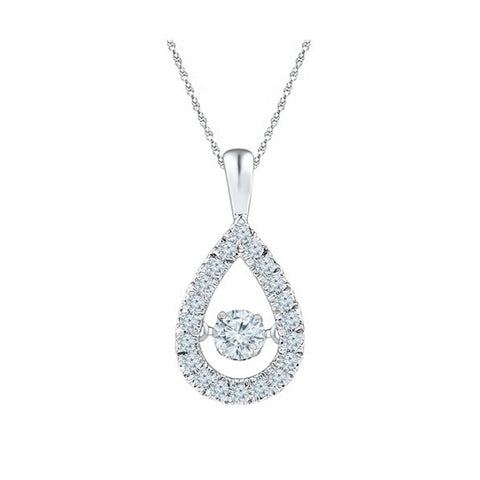 Pear Shaped Dancing Cubic Zirconia Necklace in Sterling Silver