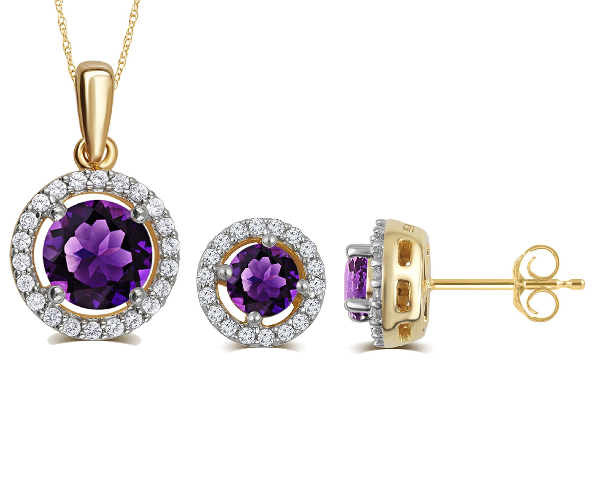 Created Amethyst & White Sapphire Necklace And Earrings Set In 14K Yellow Gold Plated
