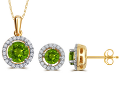 Created Peridot & White Sapphire Necklace And Earrings Set In 14K Yellow Gold Plated