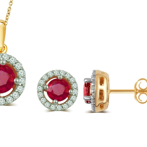 Created Ruby & White Sapphire Necklace And Earrings Set In 14K Yellow Gold Plated
