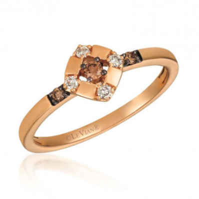 Le Vian Petite Strawberry Gold Chocolate and Vanilla Diamond Ring