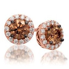 Le Vian Strawberry Gold Earrings Chocolate and Vanilla Diamonds