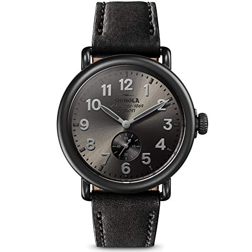 Shinola Detroit 41 mm Runwell Sub Second Gunmetal/Black Leather Strap One Size - ShopMilano