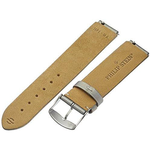 Philip Stein 1-IPL 18mm Leather Silver Watch Strap - ShopMilano
