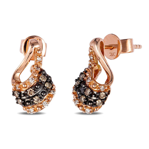 Strawberry Gold Wave Earrings with Chocolate and Vanilla Diamonds