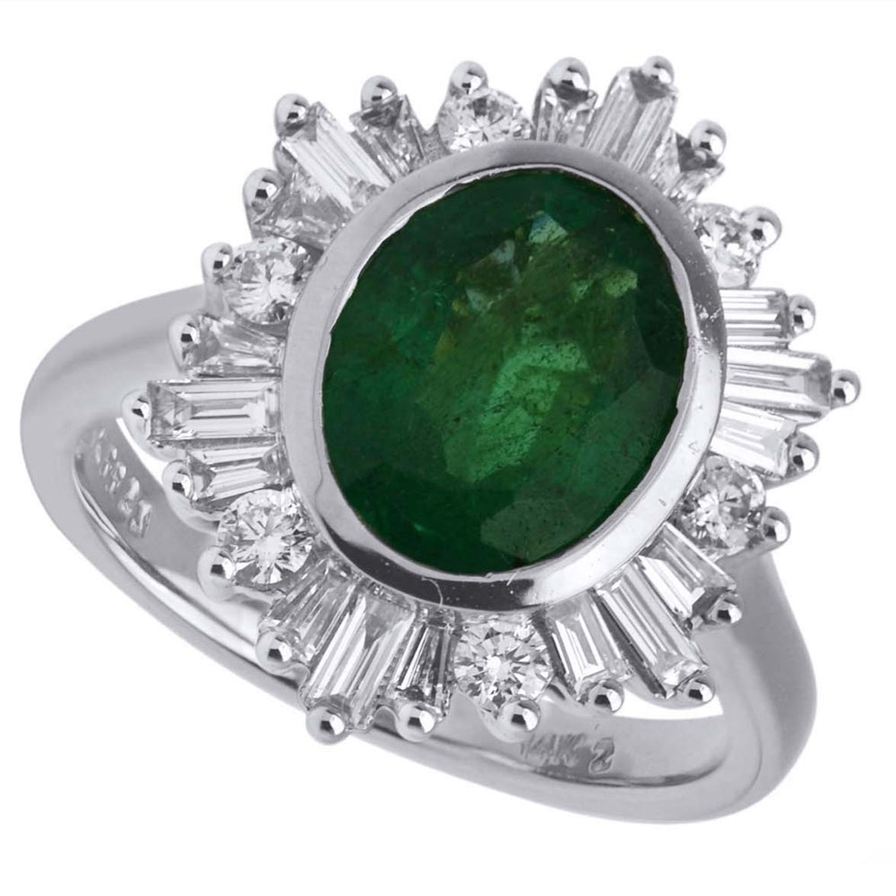 Natural Emerald and Diamond Statement Ring
