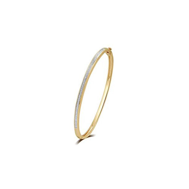 Diamond Accent Bangle in 14k Yellow Gold Plated