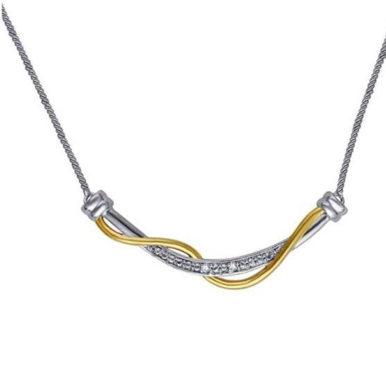 Diamond Accent Two Tone Twisted Necklace In 14K Gold Plated