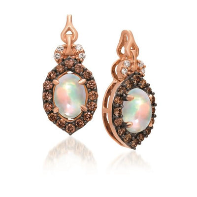 Strawberry Gold Earrings with Neopolitan Opal and Chocolate Diamonds
