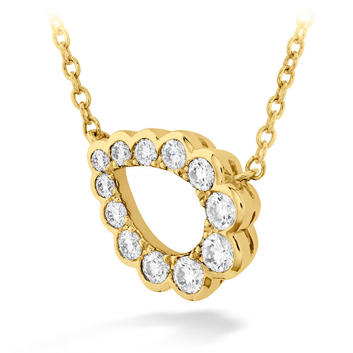 0.3 ctw. Aerial Regal Scroll Teardrop Necklace in 18K Yellow Gold