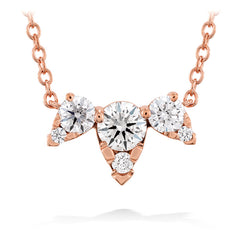 0.45 ctw. Aerial Triple Diamond Necklace in 18K Rose Gold