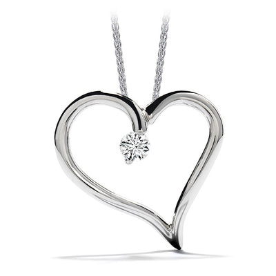 0.12 ctw. Amorous Heart Pendant Necklace in 18K White & Yellow Gold