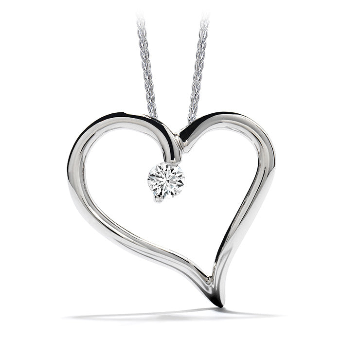 0.12 ctw. Amorous Heart Pendant Necklace in 18K White Gold