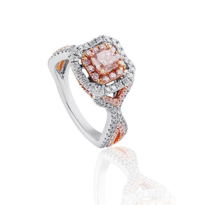 KARAH Signature Cushion-cut Pink Diamond Twist Shank Ring