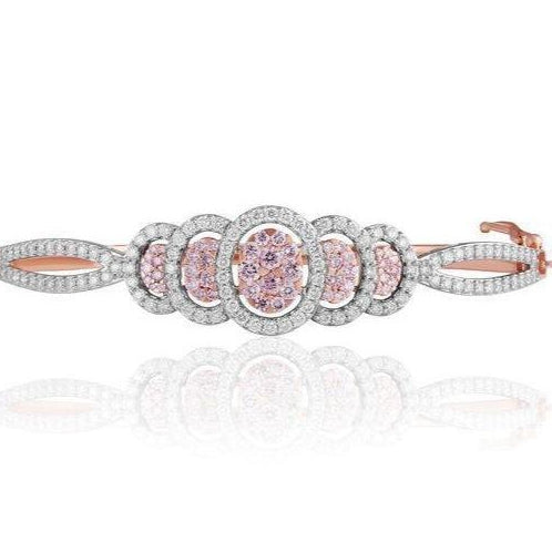 KARAH Signature Pink Cluster Diamond Bangle