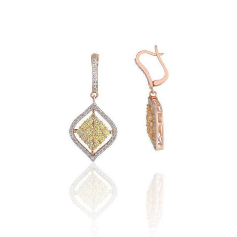 KARAH Diamond Open Square Drop Earrings