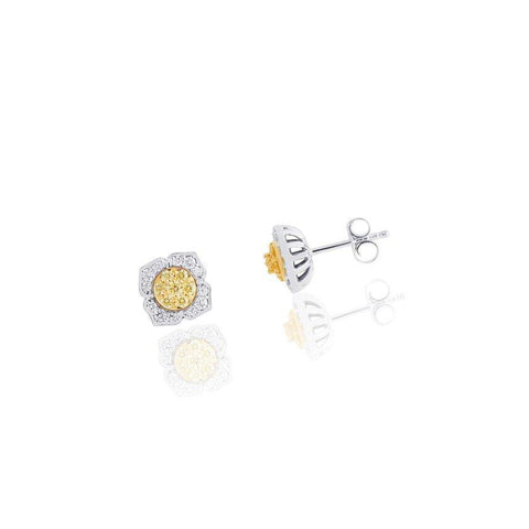 KARAH Yellow Diamond Flower Stud Earrings