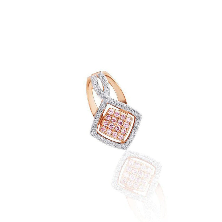 KARAH Pink Diamond Cushion Frame Pendant