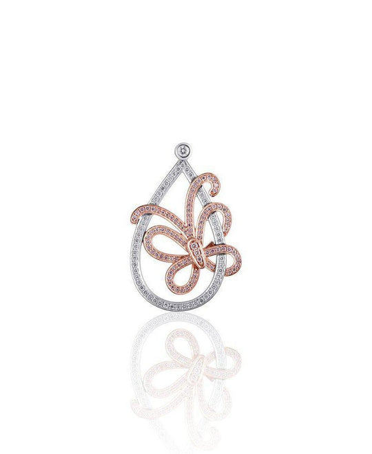 Two-Tone Diamond Butterfly Pendant