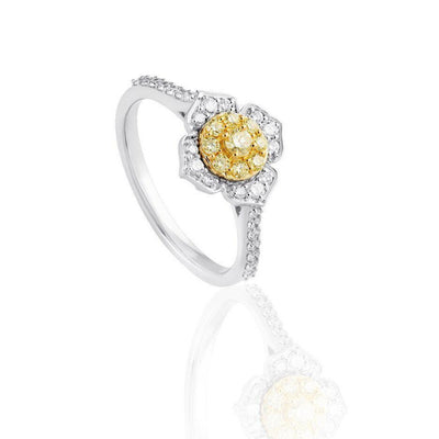 KARAH Yellow Diamond Flower Ring