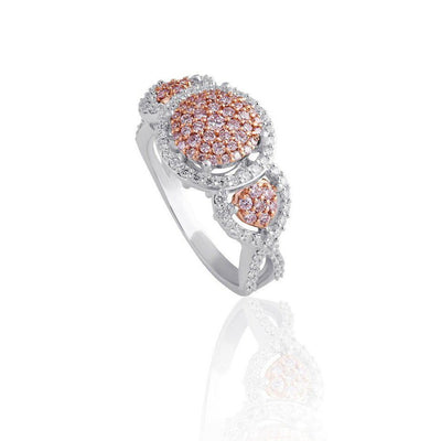 KARAH Pink Diamond Triple Cluster Ring