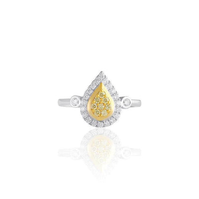 KARAH Pear-Shape Yellow Diamond Ring