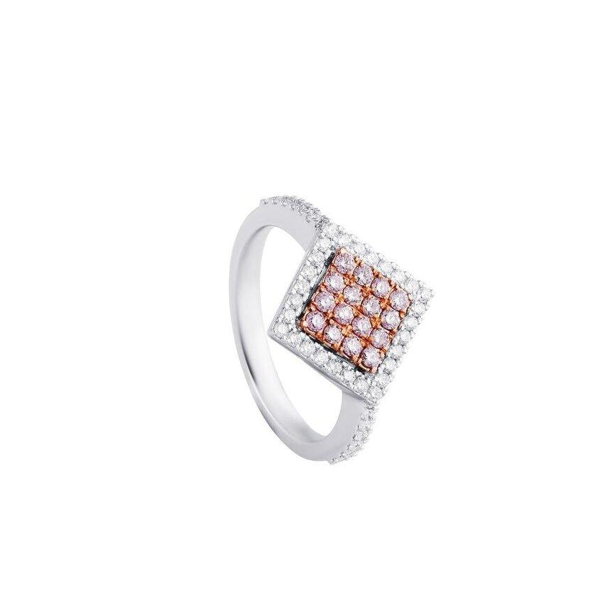 KARAH Pink Diamond Side Square Ring