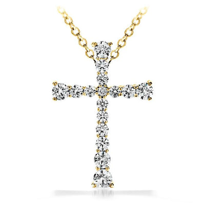 Divine Journey Cross Pendant Necklace in 18K Yellow Gold