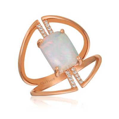 Le Vian Strawberry Gold Neopolitan Opal Ring with Vanilla Diamonds