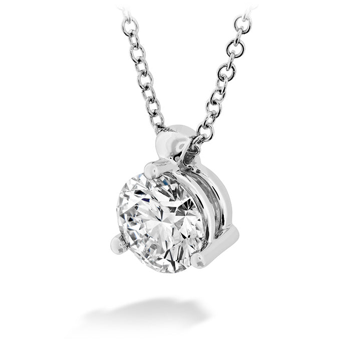 HOF Classic 3 Prong Solitaire Pendant in 18K White Gold