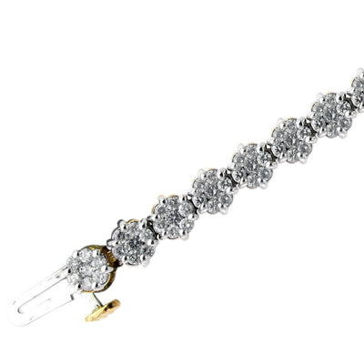 14K Yellow Flower Diamond Bracelet