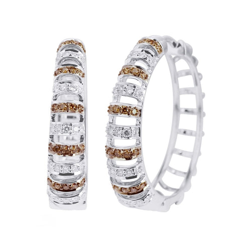 Brown and White Diamond Hoops